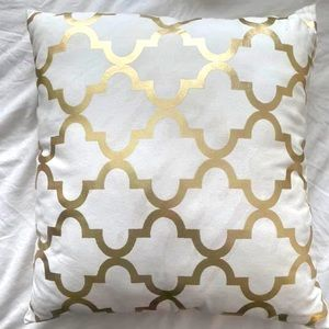 Gold and white patterned throw pillow 16 x 16